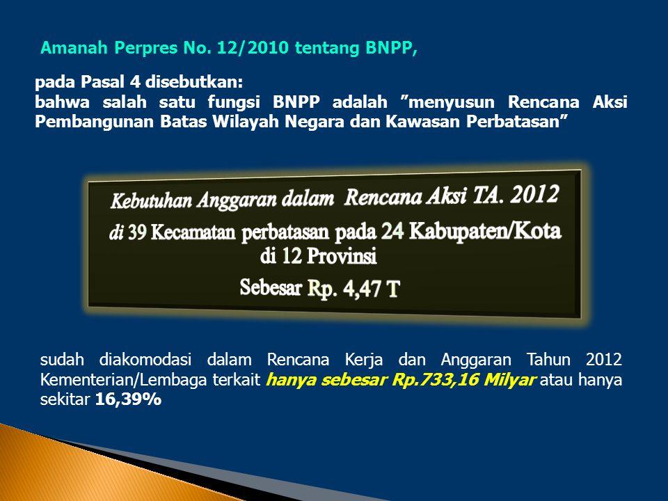 """Amanah Perpres No. 12/2010 tentang BNPP, pada Pasal 4 disebutkan: bahwa salah satu fungsi BNPP adalah """"menyusun Rencana Aksi Pembangunan Batas Wilayah"""