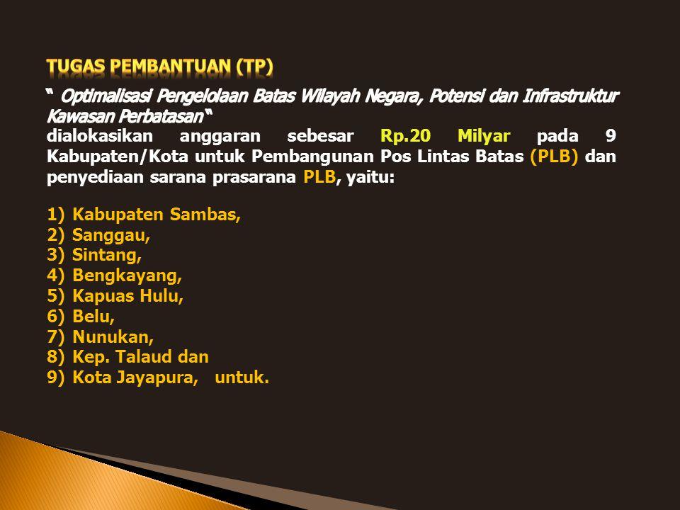 1)Kabupaten Sambas, 2)Sanggau, 3)Sintang, 4)Bengkayang, 5)Kapuas Hulu, 6)Belu, 7)Nunukan, 8)Kep. Talaud dan 9)Kota Jayapura, untuk.