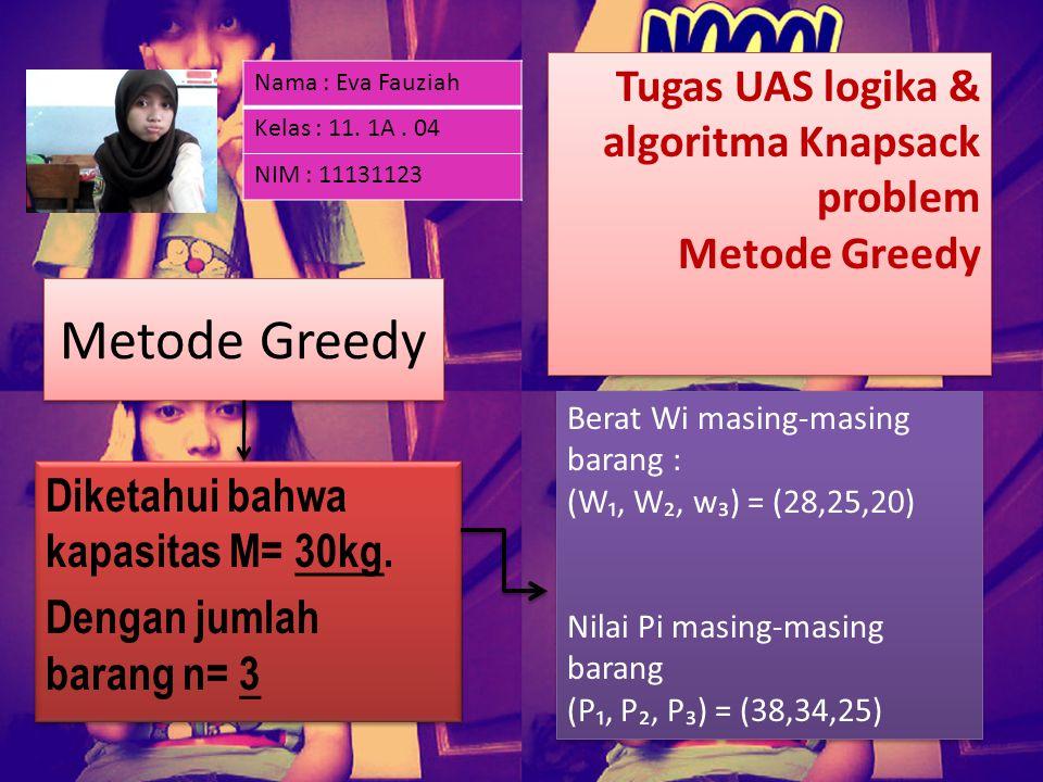 Metode Greedy Diketahui bahwa kapasitas M= 30kg. Dengan jumlah barang n= 3 Diketahui bahwa kapasitas M= 30kg. Dengan jumlah barang n= 3 Berat Wi masin