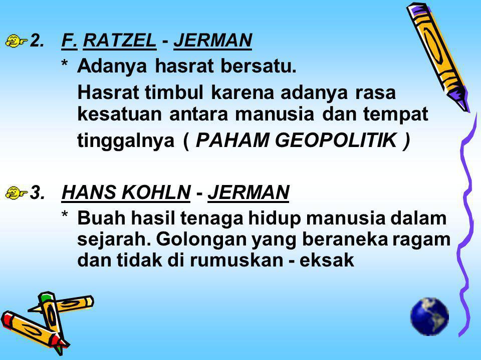 2.F.RATZEL - JERMAN * Adanya hasrat bersatu.