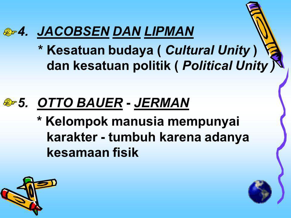 4.JACOBSEN DAN LIPMAN *Kesatuan budaya ( Cultural Unity ) dan kesatuan politik ( Political Unity ) 5.OTTO BAUER - JERMAN * Kelompok manusia mempunyai karakter - tumbuh karena adanya kesamaan fisik