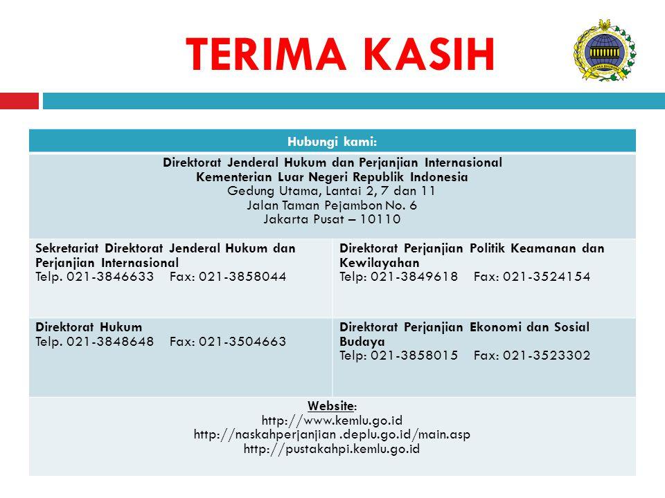 TERIMA KASIH Hubungi kami: Direktorat Jenderal Hukum dan Perjanjian Internasional Kementerian Luar Negeri Republik Indonesia Gedung Utama, Lantai 2, 7