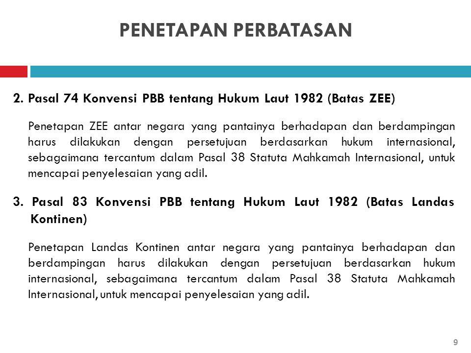 PENETAPAN PERBATASAN 2. Pasal 74 Konvensi PBB tentang Hukum Laut 1982 (Batas ZEE) Penetapan ZEE antar negara yang pantainya berhadapan dan berdampinga