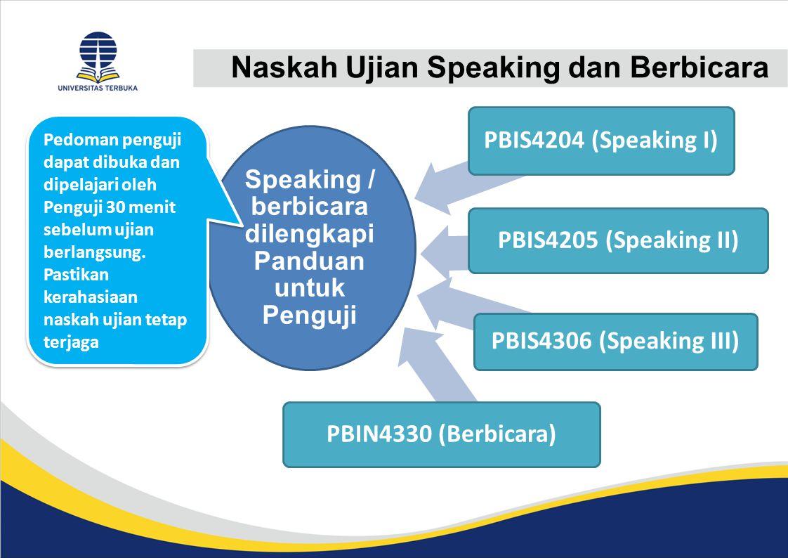 Naskah Ujian Speaking dan Berbicara Speaking / berbicara dilengkapi Panduan untuk Penguji PBIS4204 (Speaking I) PBIS4205 (Speaking II) PBIS4306 (Speak