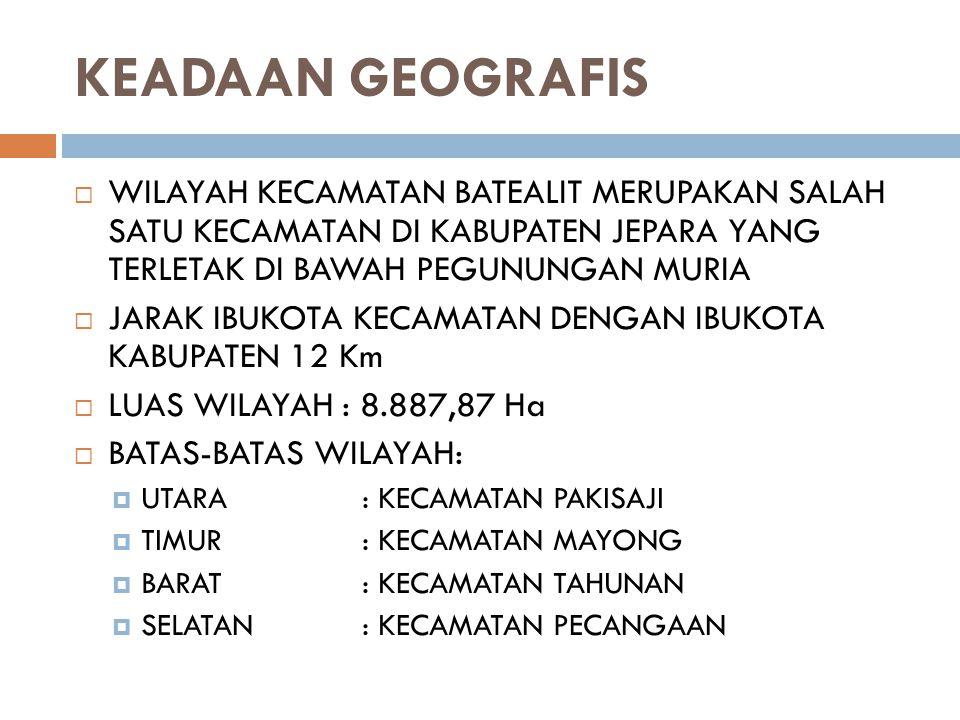 KEADAAN GEOGRAFIS  WILAYAH KECAMATAN BATEALIT MERUPAKAN SALAH SATU KECAMATAN DI KABUPATEN JEPARA YANG TERLETAK DI BAWAH PEGUNUNGAN MURIA  JARAK IBUK