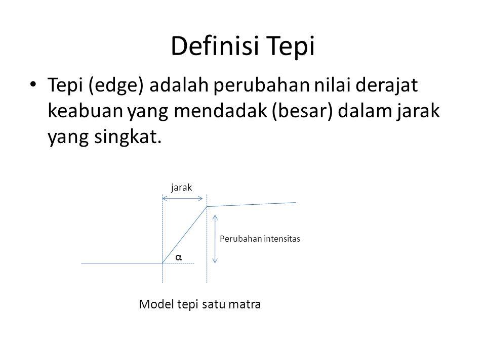 Tepi mencirikan batas-batas objek dan karena itu tepi berguna untuk proses segmentasi dan identifikasi objek di dalam citra.