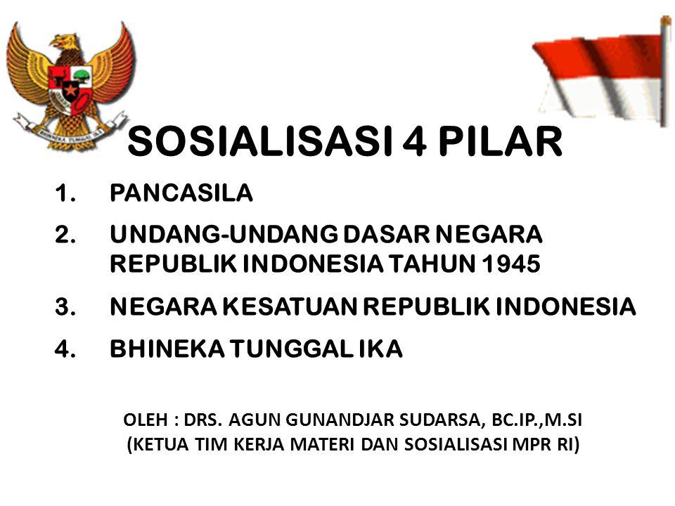 SOSIALISASI 4 PILAR 1.PANCASILA 2.UNDANG-UNDANG DASAR NEGARA REPUBLIK INDONESIA TAHUN 1945 3.NEGARA KESATUAN REPUBLIK INDONESIA 4.BHINEKA TUNGGAL IKA OLEH : DRS.