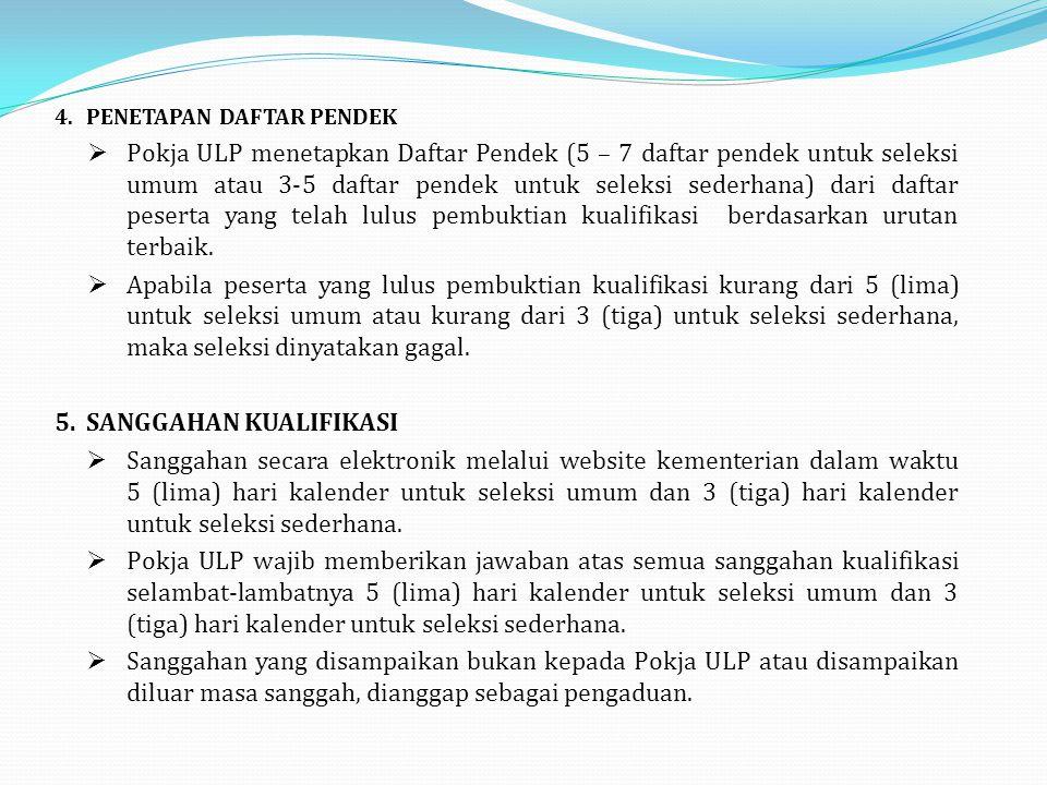 4. PENETAPAN DAFTAR PENDEK  Pokja ULP menetapkan Daftar Pendek (5 – 7 daftar pendek untuk seleksi umum atau 3-5 daftar pendek untuk seleksi sederhana