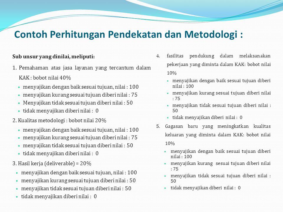Contoh Perhitungan Pendekatan dan Metodologi : Sub unsur yang dinilai, meliputi: 1.Pemahaman atas jasa layanan yang tercantum dalam KAK : bobot nilai