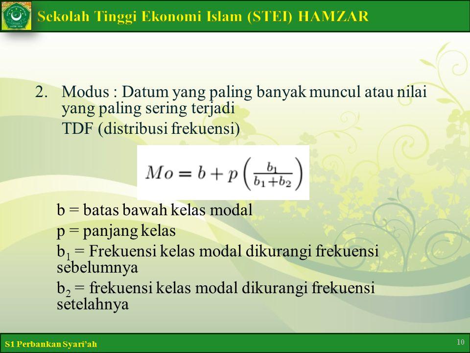2.Modus : Datum yang paling banyak muncul atau nilai yang paling sering terjadi TDF (distribusi frekuensi) b = batas bawah kelas modal p = panjang kelas b 1 = Frekuensi kelas modal dikurangi frekuensi sebelumnya b 2 = frekuensi kelas modal dikurangi frekuensi setelahnya 10
