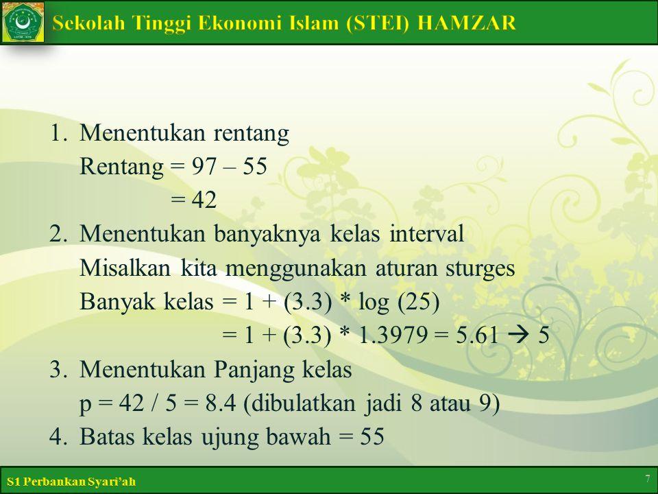 1.Menentukan rentang Rentang = 97 – 55 = 42 2.