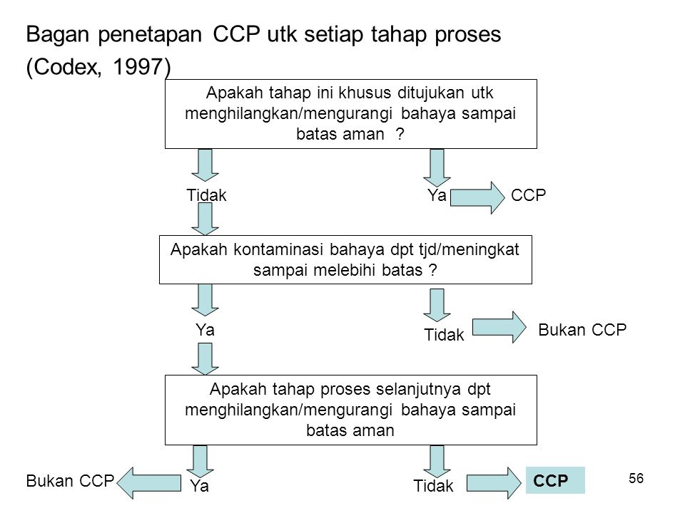 Bagan penetapan CCP utk setiap tahap proses (Codex, 1997) Apakah tahap ini khusus ditujukan utk menghilangkan/mengurangi bahaya sampai batas aman ? Ya