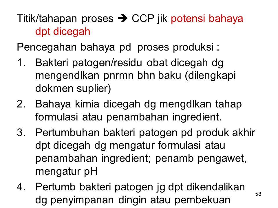 Titik/tahapan proses  CCP jik potensi bahaya dpt dicegah Pencegahan bahaya pd proses produksi : 1.Bakteri patogen/residu obat dicegah dg mengendlkan