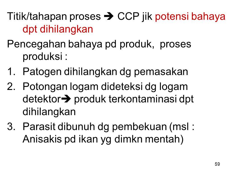 Titik/tahapan proses  CCP jik potensi bahaya dpt dihilangkan Pencegahan bahaya pd produk, proses produksi : 1.Patogen dihilangkan dg pemasakan 2.Poto