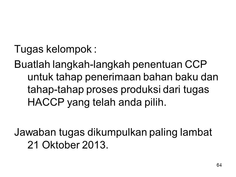 Tugas kelompok : Buatlah langkah-langkah penentuan CCP untuk tahap penerimaan bahan baku dan tahap-tahap proses produksi dari tugas HACCP yang telah a
