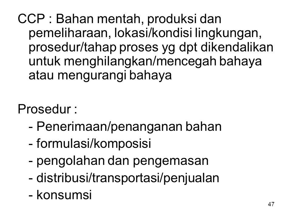 Titik/tahapan proses  CCP jik potensi bahaya dpt dicegah Pencegahan bahaya pd proses produksi : 1.Bakteri patogen/residu obat dicegah dg mengendlkan pnrmn bhn baku (dilengkapi dokmen suplier) 2.Bahaya kimia dicegah dg mengdlkan tahap formulasi atau penambahan ingredient.