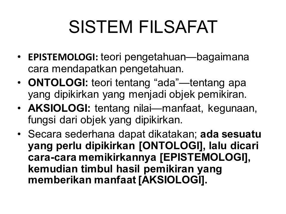 """SISTEM FILSAFAT EPISTEMOLOGI: teori pengetahuan—bagaimana cara mendapatkan pengetahuan. ONTOLOGI: teori tentang """"ada""""—tentang apa yang dipikirkan yang"""