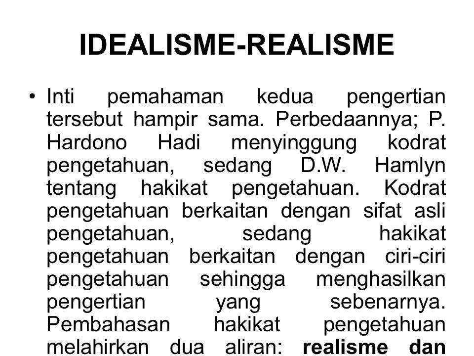IDEALISME-REALISME Inti pemahaman kedua pengertian tersebut hampir sama. Perbedaannya; P. Hardono Hadi menyinggung kodrat pengetahuan, sedang D.W. Ham