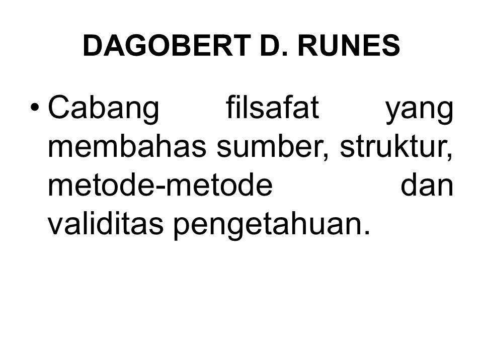 DAGOBERT D. RUNES Cabang filsafat yang membahas sumber, struktur, metode-metode dan validitas pengetahuan.