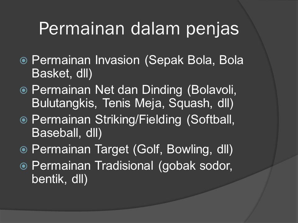 Permainan dalam penjas  Permainan Invasion (Sepak Bola, Bola Basket, dll)  Permainan Net dan Dinding (Bolavoli, Bulutangkis, Tenis Meja, Squash, dll