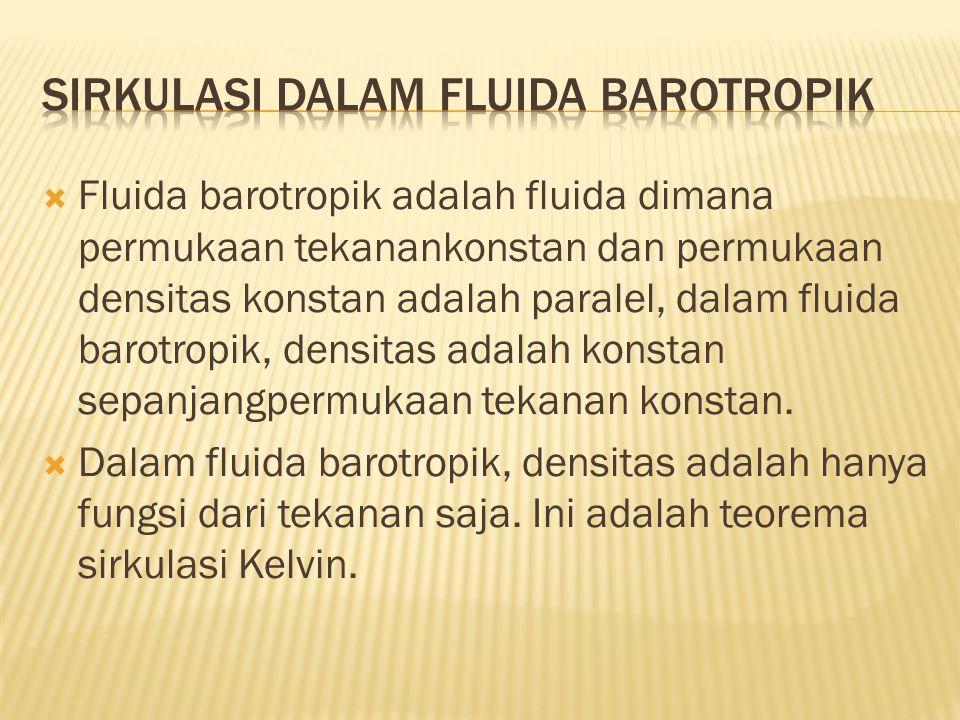  Fluida barotropik adalah fluida dimana permukaan tekanankonstan dan permukaan densitas konstan adalah paralel, dalam fluida barotropik, densitas adalah konstan sepanjangpermukaan tekanan konstan.