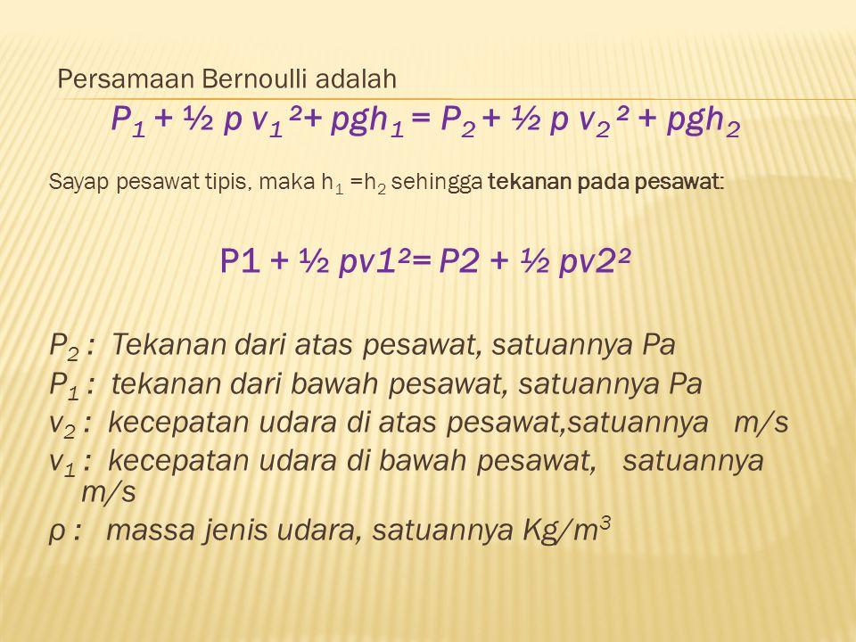 Persamaan Bernoulli adalah P 1 + ½ p v 1 ²+ pgh 1 = P 2 + ½ p v 2 ² + pgh 2 Sayap pesawat tipis, maka h 1 =h 2 sehingga tekanan pada pesawat: P1 + ½ pv1²= P2 + ½ pv2² P 2 : Tekanan dari atas pesawat, satuannya Pa P 1 : tekanan dari bawah pesawat, satuannya Pa v 2 : kecepatan udara di atas pesawat,satuannya m/s v 1 : kecepatan udara di bawah pesawat, satuannya m/s ρ : massa jenis udara, satuannya Kg/m 3