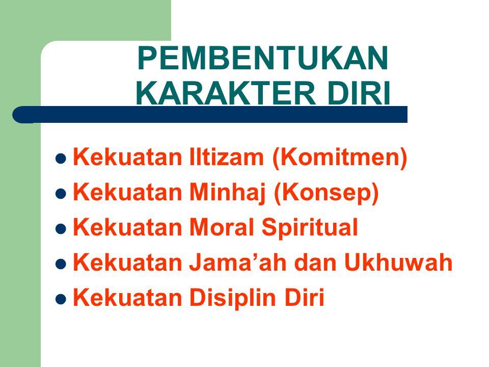 PEMBENTUKAN KARAKTER DIRI Kekuatan Iltizam (Komitmen) Kekuatan Minhaj (Konsep) Kekuatan Moral Spiritual Kekuatan Jama'ah dan Ukhuwah Kekuatan Disiplin Diri