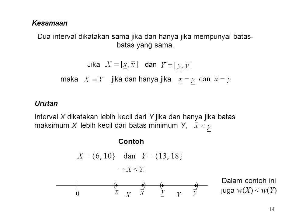Kesamaan Dua interval dikatakan sama jika dan hanya jika mempunyai batas- batas yang sama.