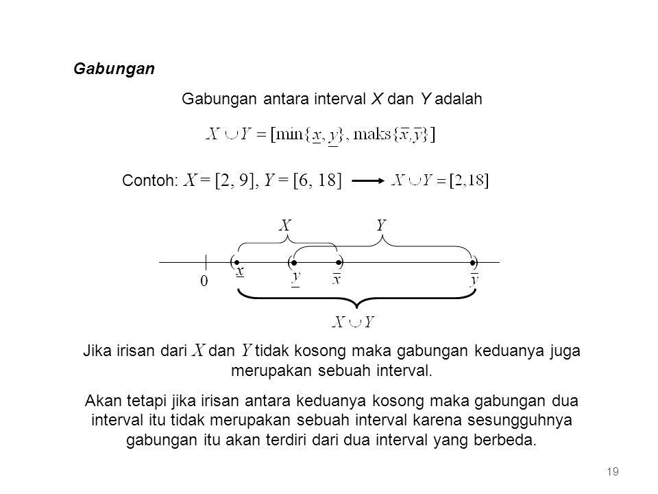 Gabungan Gabungan antara interval X dan Y adalah Contoh: X = [2, 9], Y = [6, 18] 0 ( x ) () XY Jika irisan dari X dan Y tidak kosong maka gabungan keduanya juga merupakan sebuah interval.