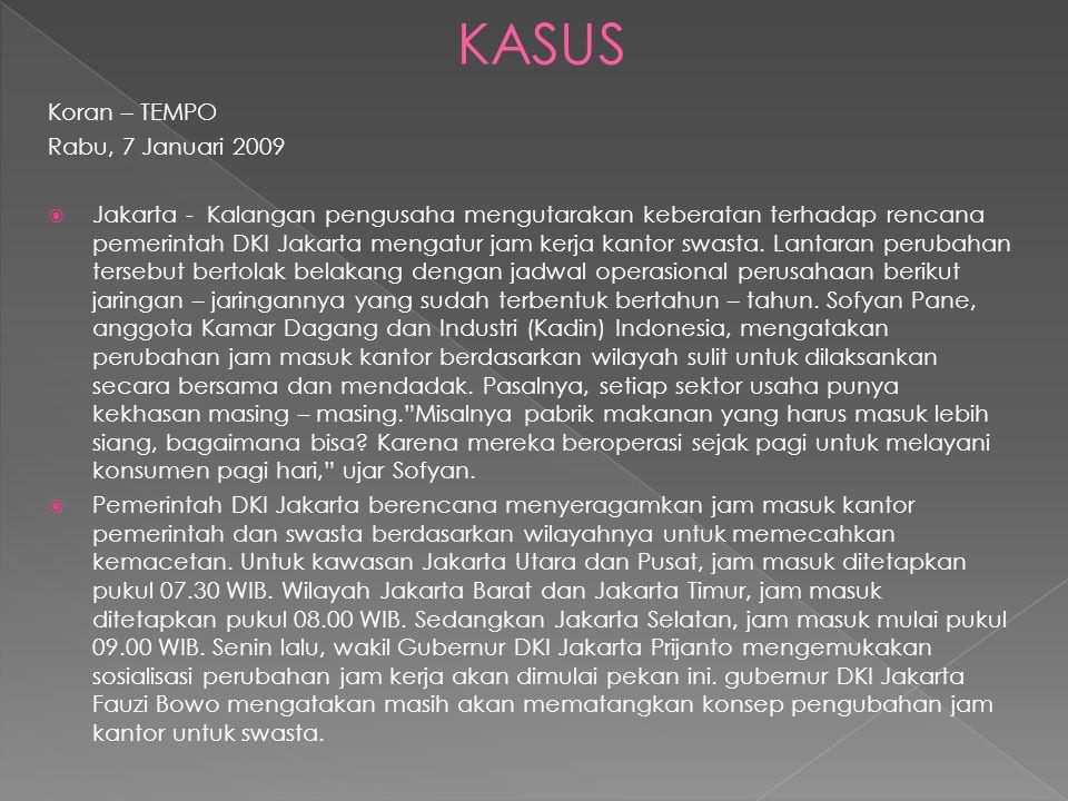 Koran – TEMPO Rabu, 7 Januari 2009  Jakarta - Kalangan pengusaha mengutarakan keberatan terhadap rencana pemerintah DKI Jakarta mengatur jam kerja kantor swasta.