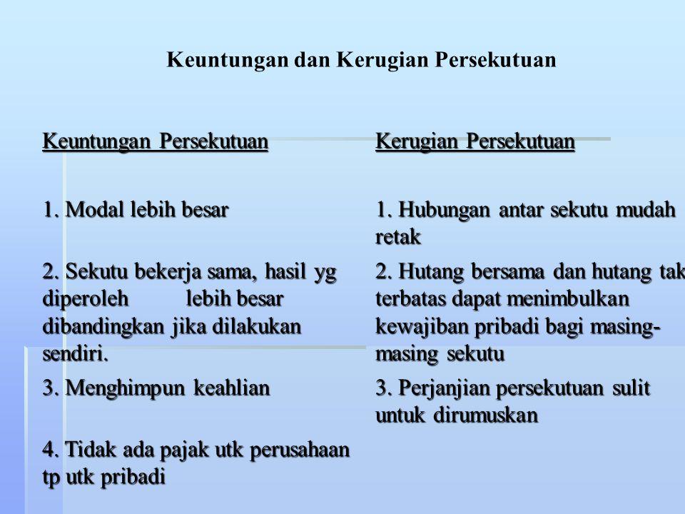 KHARAKTERISTIK PERSEKUTUAN : 1.Perjanjian / kontrak tertulis (Partnership Agreement) 2.Masa hidup / umur yang terbatas (Limited Life) 3.Kewajiban / hu