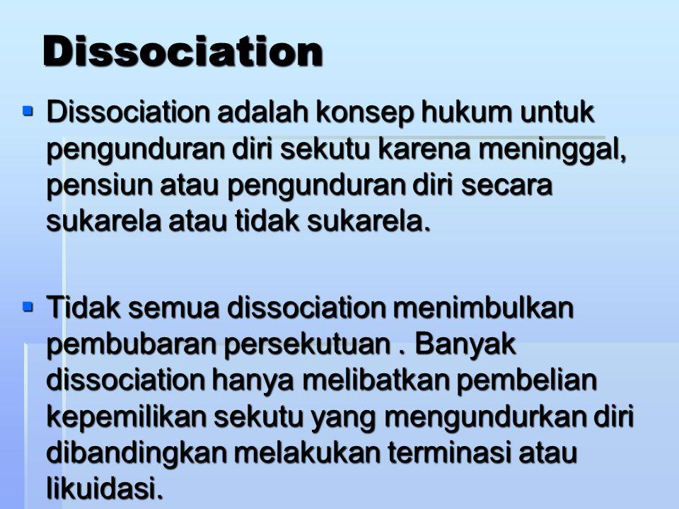 PEMBUBARAN PERSEKUTUAN ADA EMPAT JENIS PEMBUBARAN PERSEKUTUAN 1.Dissociation/Pengunduran diri 2.Dissolution/Pembubaran 3.Termination/Terminasi 4.Liquidation/Likuidasi.