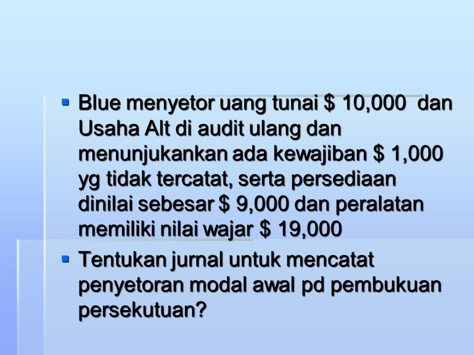 Contoh  Alt dan Blu sepakat membentuk persekutuan, berikut saldo Alt pd tanggal 31 Desember 200x  Kas3,000  Persediaan7,000  Peralatan20,000  Akum Peny- perlatan 5,000  Kewajiban 10,000  Modal Alt 15,000