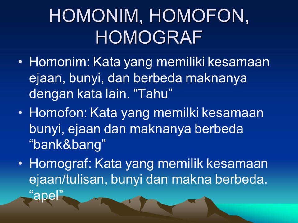 "HOMONIM, HOMOFON, HOMOGRAF Homonim: Kata yang memiliki kesamaan ejaan, bunyi, dan berbeda maknanya dengan kata lain. ""Tahu"" Homofon: Kata yang memilki"