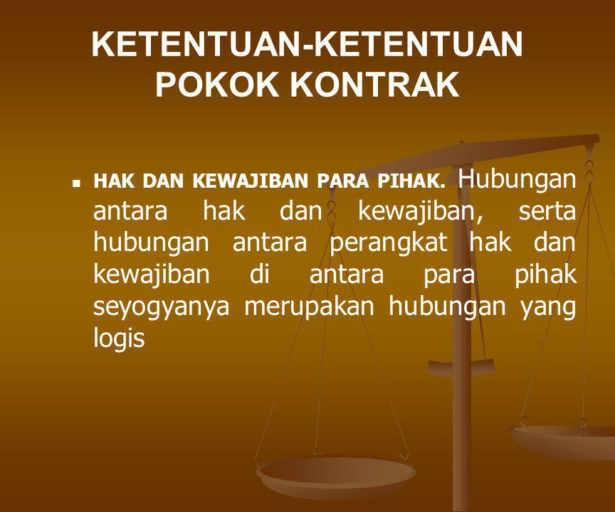 ELEMEN-ELEMEN PENUNJANG KONTRAK Pernyataan dan jaminan.