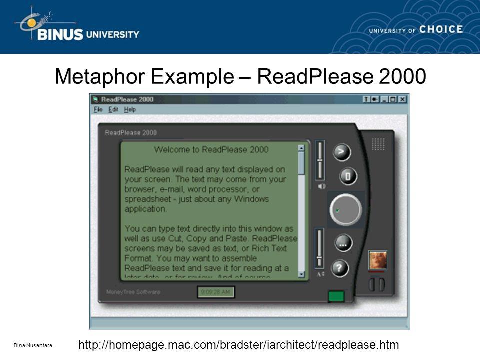 Bina Nusantara Metaphor Example – ReadPlease 2000 http://homepage.mac.com/bradster/iarchitect/readplease.htm