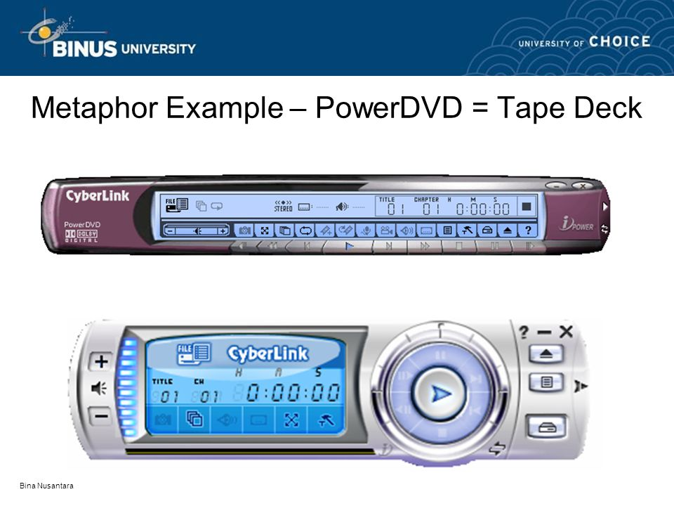 Bina Nusantara Metaphor Example – PowerDVD = Tape Deck