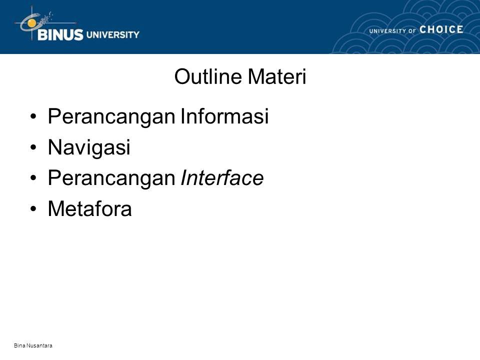 Bina Nusantara Outline Materi Perancangan Informasi Navigasi Perancangan Interface Metafora
