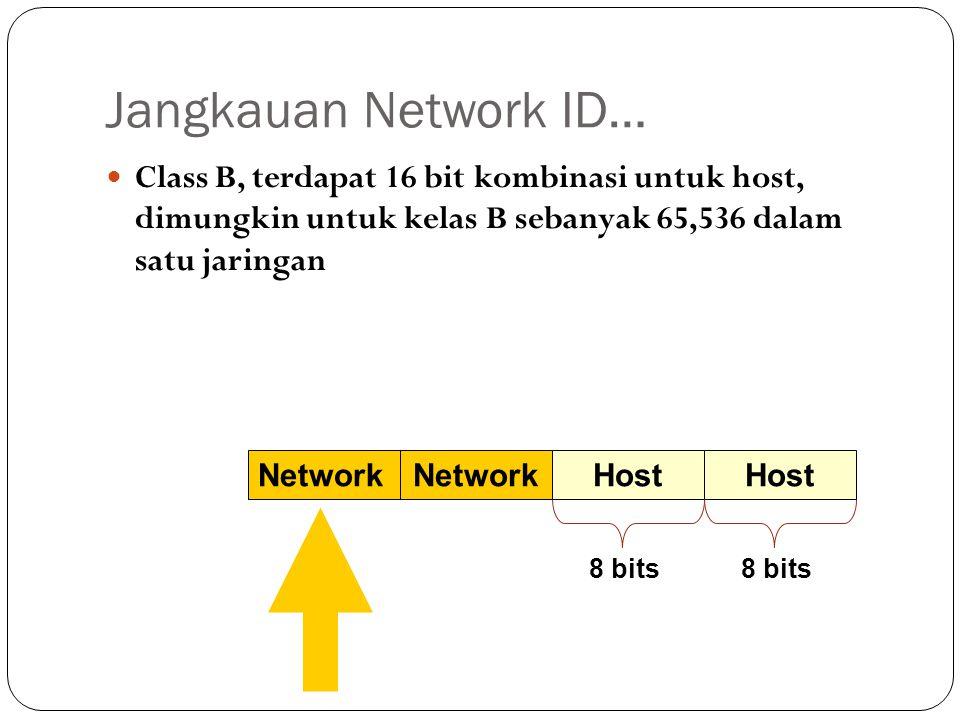 Jangkauan Network ID… Class B, terdapat 16 bit kombinasi untuk host, dimungkin untuk kelas B sebanyak 65,536 dalam satu jaringan Network Host 8 bits