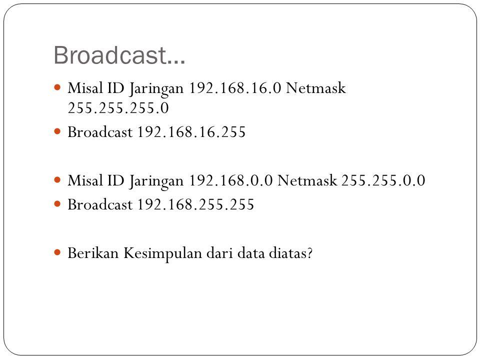 Broadcast… Misal ID Jaringan 192.168.16.0 Netmask 255.255.255.0 Broadcast 192.168.16.255 Misal ID Jaringan 192.168.0.0 Netmask 255.255.0.0 Broadcast 1