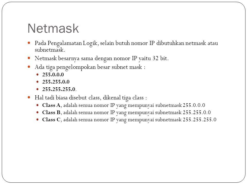 IP Dan Netmask… Pengalamatan Logik merupakan Gabungan antara IP dan Netmask Penulisan biasanya sbb : IP : 202.95.151.129 Netmask: 255.255.255.0 Perhitungan antara IP dan Netmask akan menghasilkan NetworkID