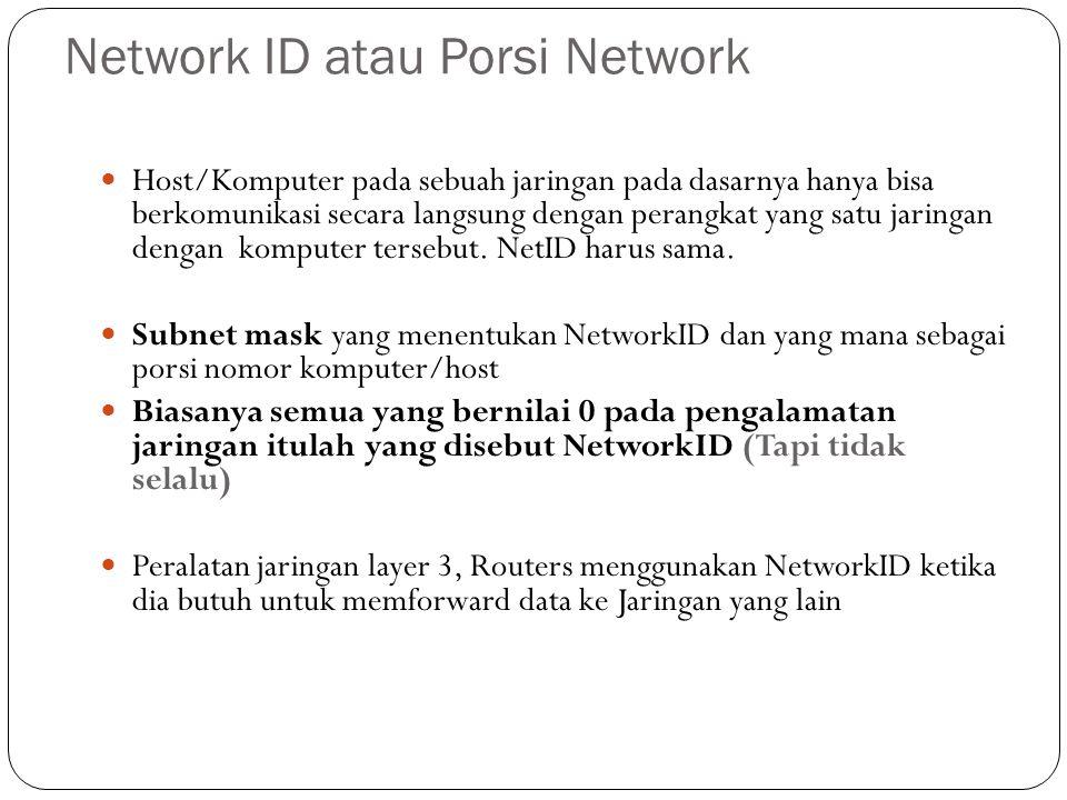 Penggunaan Subnet Mask Subnet mask sebenarnya merupakan alat yang dipakai untuk melihat dalam IP address mana bagian dari NetID dan HostID.