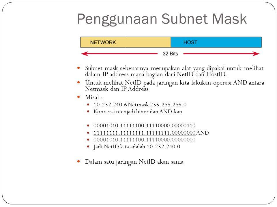 Pembagian Subnet Mask Class A, adalah semua nomor IP yang mempunyai subnetmask 255.0.0.0 Class B, adalah semua nomor IP yang mempunyai subnetmask 255.255.0.0 Class C, adalah semua nomor IP yang mempunyai subnetmask 255.255.255.0