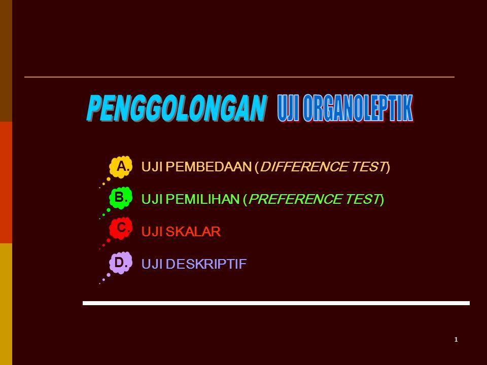 1 UJI PEMBEDAAN (DIFFERENCE TEST) UJI PEMILIHAN (PREFERENCE TEST) UJI SKALAR UJI DESKRIPTIF A.