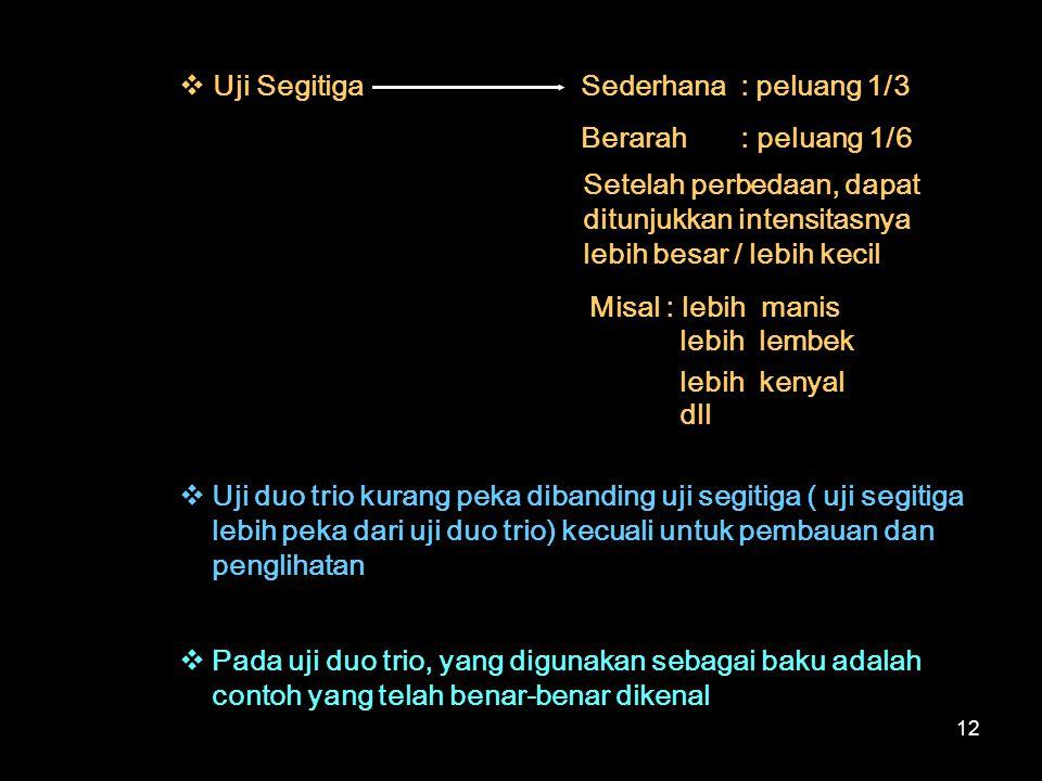 12  Uji SegitigaSederhana : peluang 1/3 Berarah : peluang 1/6 Setelah perbedaan, dapat ditunjukkan intensitasnya lebih besar / lebih kecil Misal : le