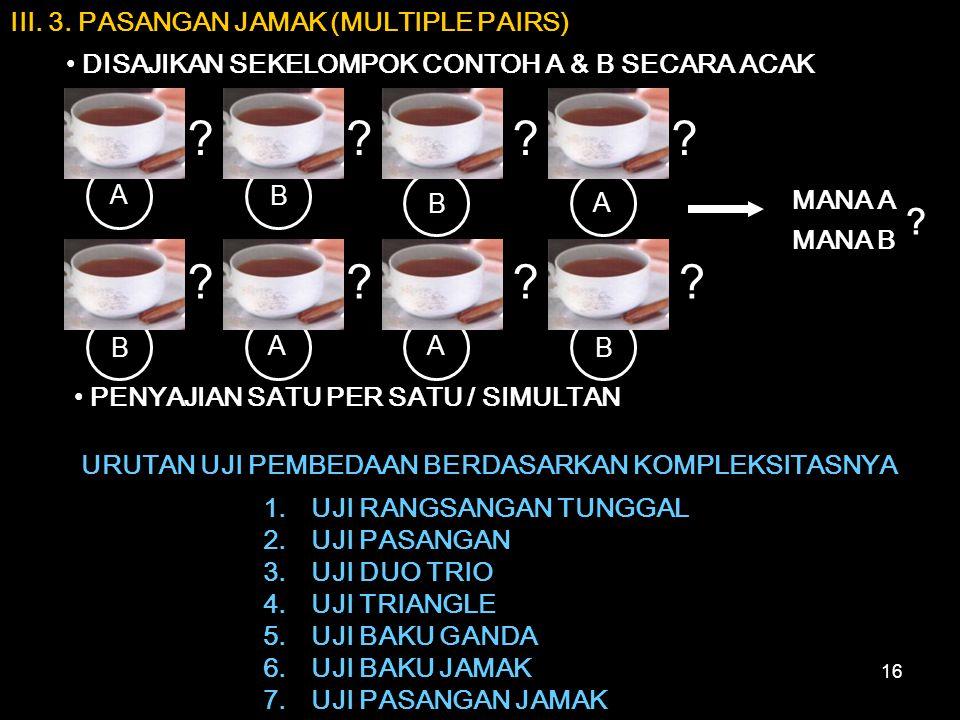 16 III. 3. PASANGAN JAMAK (MULTIPLE PAIRS) DISAJIKAN SEKELOMPOK CONTOH A & B SECARA ACAK MANA A MANA B PENYAJIAN SATU PER SATU / SIMULTAN URUTAN UJI P