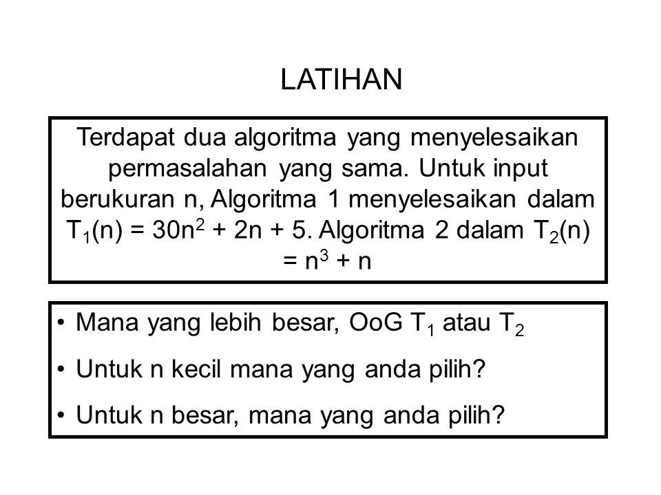 LATIHAN Terdapat dua algoritma yang menyelesaikan permasalahan yang sama. Untuk input berukuran n, Algoritma 1 menyelesaikan dalam T 1 (n) = 30n 2 + 2