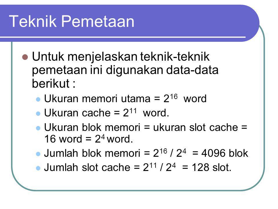 Teknik Pemetaan Untuk menjelaskan teknik-teknik pemetaan ini digunakan data-data berikut : Ukuran memori utama = 2 16 word Ukuran cache = 2 11 word. U