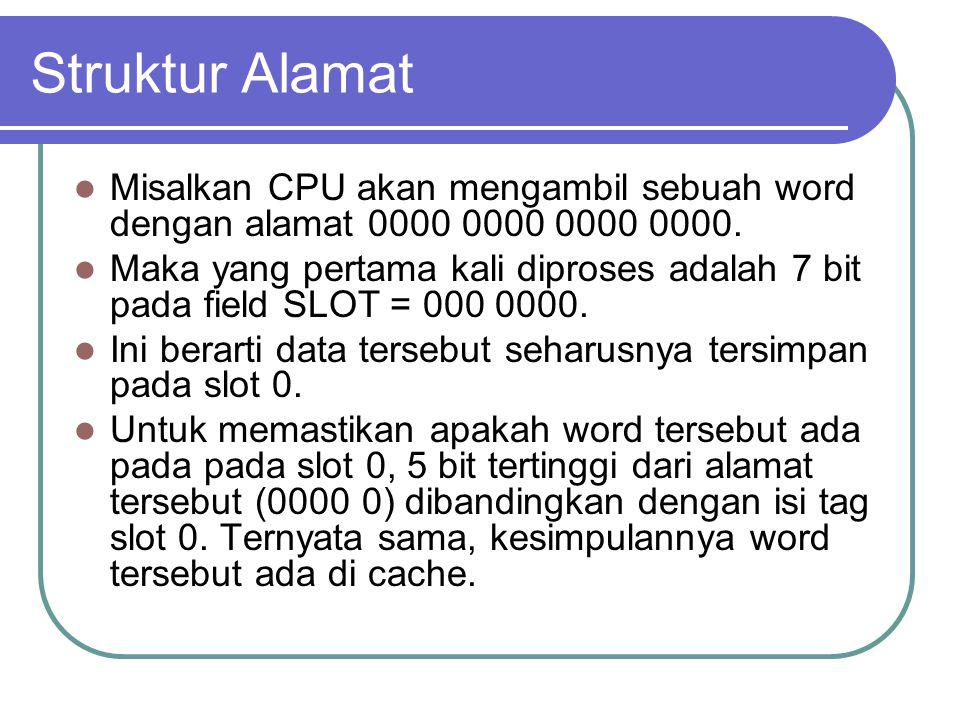 Struktur Alamat Misalkan CPU akan mengambil sebuah word dengan alamat 0000 0000 0000 0000. Maka yang pertama kali diproses adalah 7 bit pada field SLO