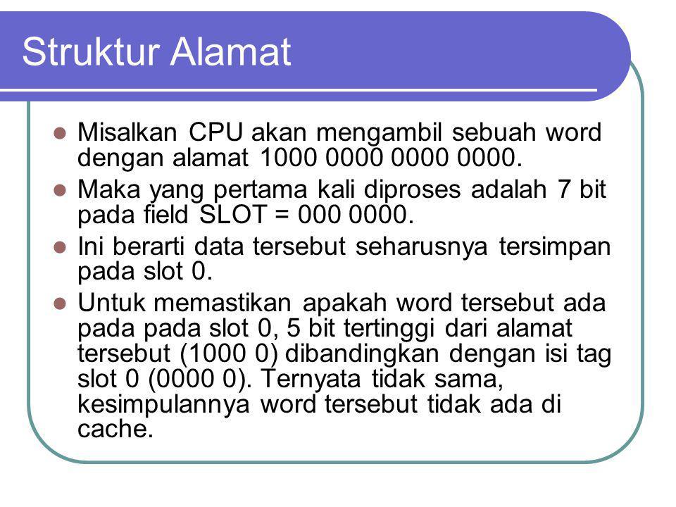 Struktur Alamat Misalkan CPU akan mengambil sebuah word dengan alamat 1000 0000 0000 0000. Maka yang pertama kali diproses adalah 7 bit pada field SLO
